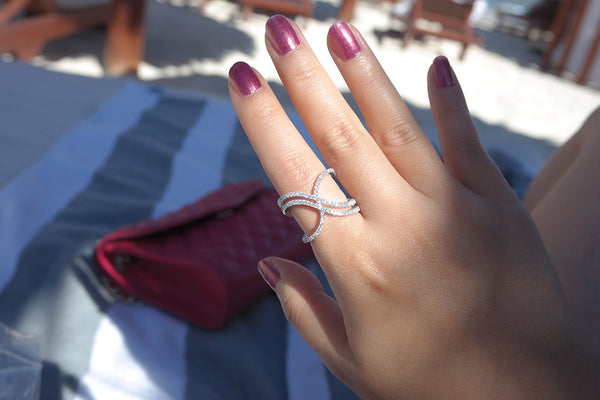 Sterling Silver Rounded X Line Ring - SDG by Grace