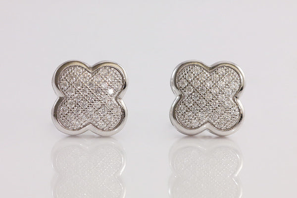 Sterling Silver Micro Pave Clover Earrings - SDG by Grace