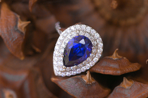 Sterling Silver Tanzanite CZ Teardrop Ring - SDG by Grace