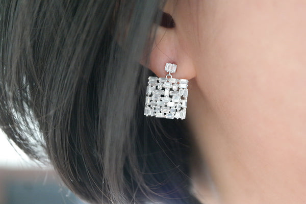 Sterling Silver Square Baguette Crystal Cluster Earrings - SDG by Grace