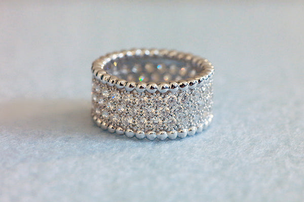 Sterling Silver Bubbly Silhouette Pave Ring - SDG by Grace