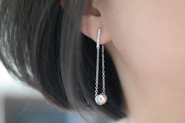 Sterling Silver Pave Bar and Silver Ball Chain Drop Earrings