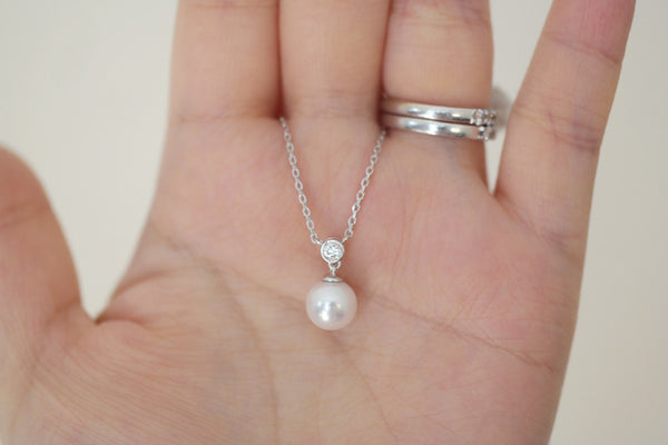 Sterling Silver Swarovski Pearl Drop Necklace - SDG by Grace