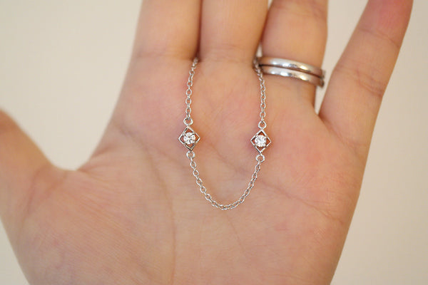 Sterling Silver Square Framed CZ by the Yard Necklace - SDG by Grace