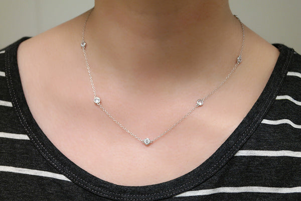 Sterling Silver CZ by the Yard Necklace, 18 inches - SDG by Grace
