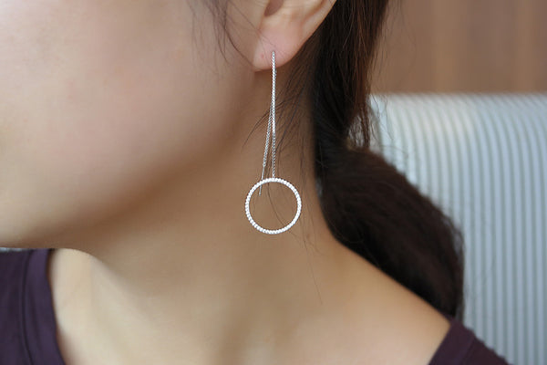 Sterling Silver Circle Threader Earrings - SDG by Grace