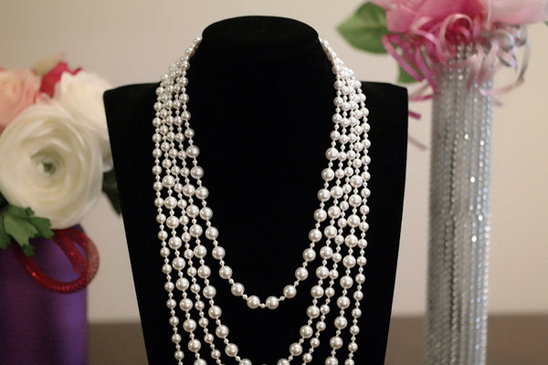 Five Strand Swarovski Pearl Necklace - SDG by Grace