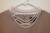 Bow Clasp Three Strand Swarovski Pearl Short Necklace - SDG by Grace