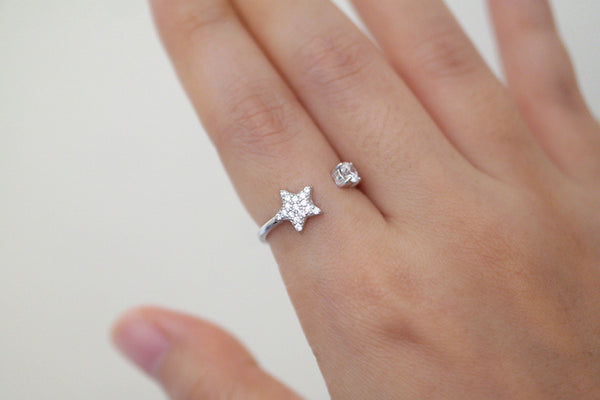 Sterling Silver Star Open Ring - SDG by Grace