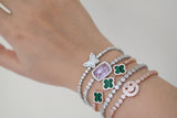 Sterling Silver Clover Adjustable Tennis Bracelet - SDG by Grace