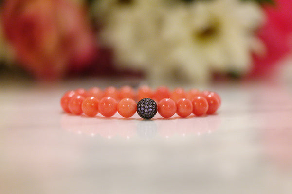 Pave Ball Coral Beads Bracelet (4 Colors) - SDG by Grace