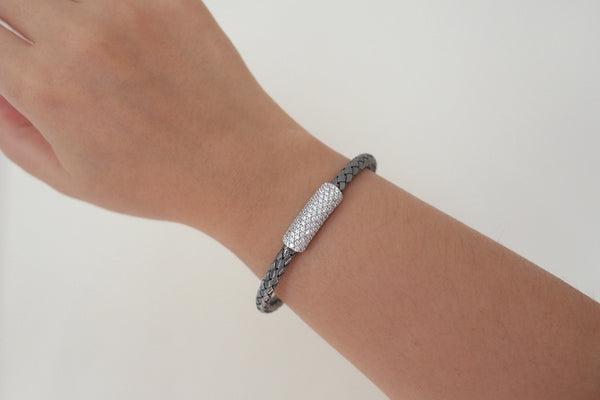 Pave Italian Braided Silver Bracelet, Black - SDG by Grace