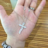 Sterling Silver Wavy Cross Necklace