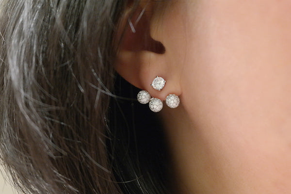 Sterling Silver Three Pave Ball Two Way Earrings (4 Colors)