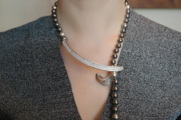 Wave Bar Pearl Adjustable Necklace - SDG by Grace