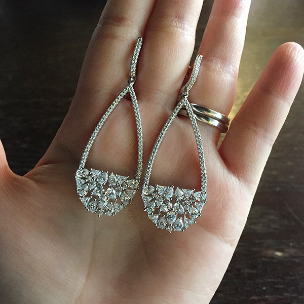 Sterling Silver Crystal Cluster Teardrop Earrings - SDG by Grace