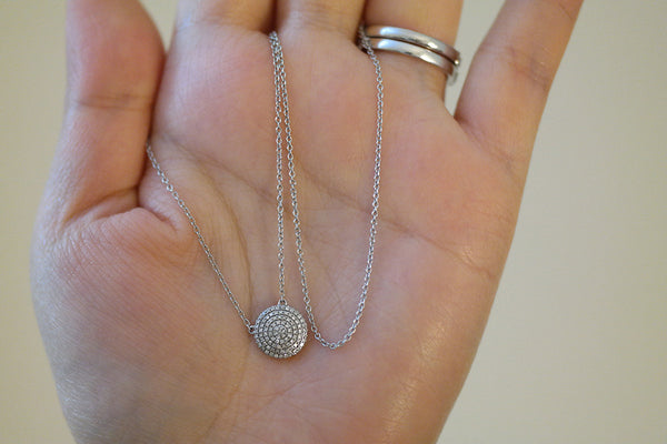 14k White Gold Diamond Disc Necklace - SDG by Grace