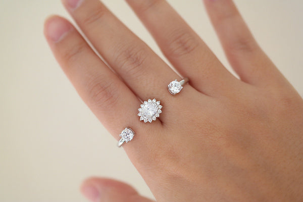 Sterling Silver Crystal Flower Two Finger Ring - SDG by Grace