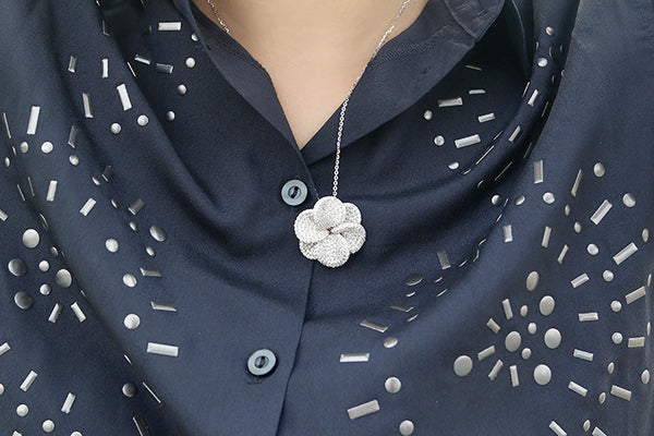 Sterling Silver Flower Necklace, White - SDG by Grace