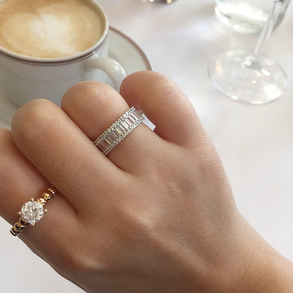 Sterling Silver Baguette Cut Eternity Ring - SDG by Grace