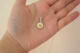 Sterling Silver Citrine Yellow Halo Setting Necklace - SDG by Grace