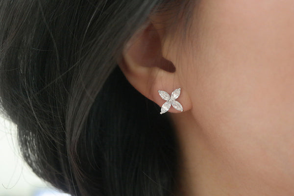Sterling Silver Marquise Flower Earrings (3 Colors) - SDG by Grace