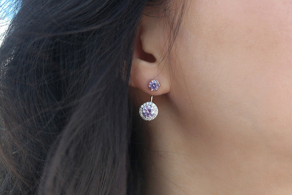 Sterling Silver Purple Stone Two Way Earrings - SDG by Grace