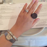 Sterling Silver Chocolate Pave Signet Ring - SDG by Grace