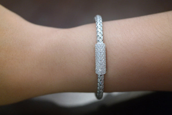 Pave Italian Braided Silver Bracelet, White - SDG by Grace