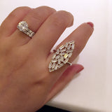 Sterling Silver Baguette Crystal Cluster Ring - SDG by Grace