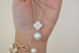 Sterling Silver Dangling Pearl Clover Necklace - SDG by Grace