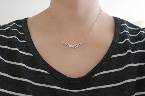 Sterling Silver Baguette Cluster Necklace (3 Colors) - SDG by Grace