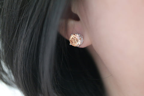 Sterling Silver Champagne Color CZ Stud Earrings