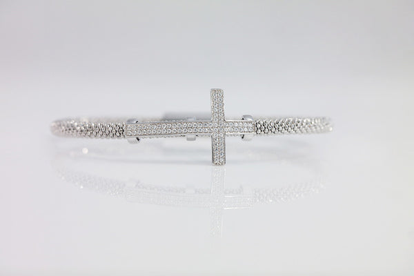 Pave Cross Italian Silver Bracelet (2 Colors) - SDG by Grace