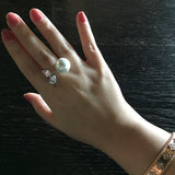 Sterling Silver Pearl and Teardrop Crystal Open Ring - SDG by Grace