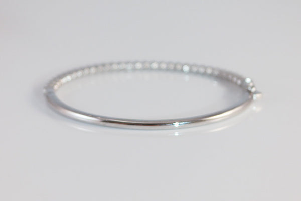 Sterling Silver Blossom Crystal Bangle, White - SDG by Grace