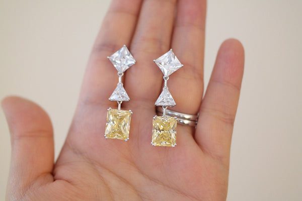 Sterling Silver Yellow Square Crystal Drop Earrings - SDG by Grace