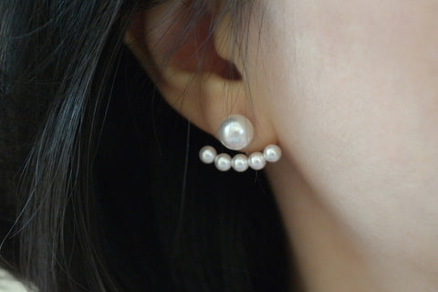 Sterling Silver Five Pearl Two Way Earrings - SDG by Grace