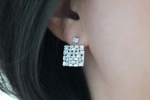 Sterling Silver Square Baguette Crystal Cluster Earrings