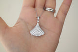 Sterling Silver Fan Shape Pave Necklace