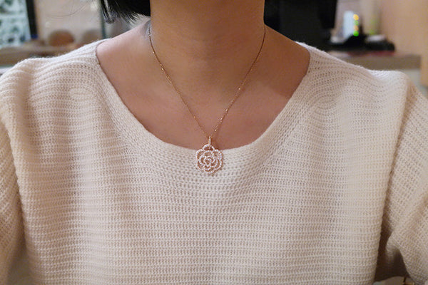 Sterling Silver Rose Flower Necklace, Rose - SDG by Grace