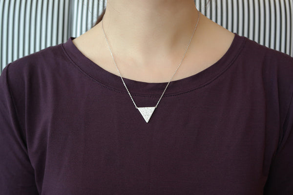 Sterling Silver Pave Triangle Necklace - SDG by Grace