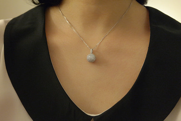 Sterling Silver Pave Ball Necklace - SDG by Grace