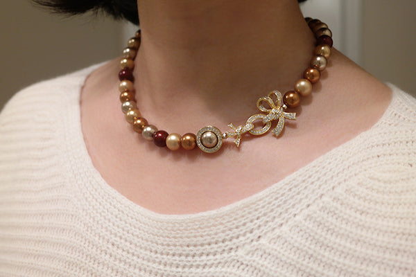 Golden Bow Multi-Color Pearl Necklace - SDG by Grace
