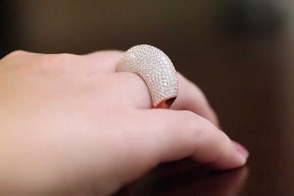Sterling Silver Pave Dome Ring, Rose - SDG by Grace