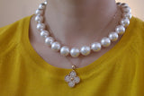 White Swarovski Pearl Necklace, 14mm - SDG by Grace