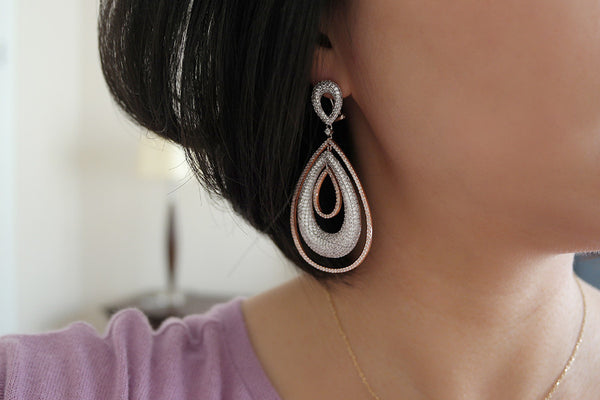 Brass Teardrop Hoop Pave Earrings - SDG by Grace
