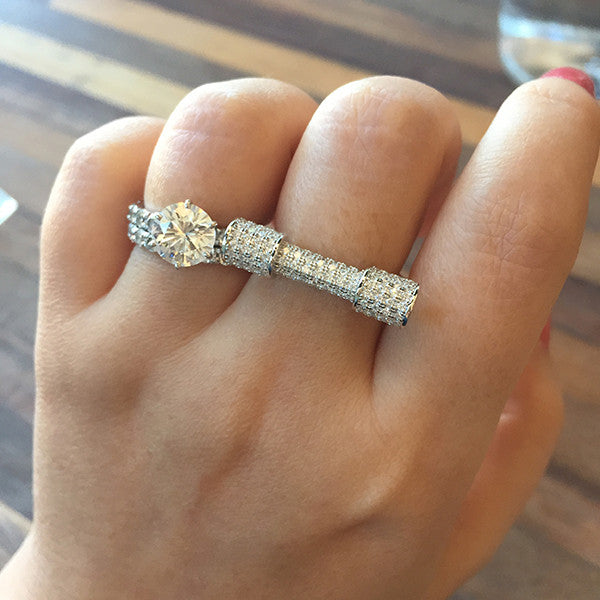 Sterling Silver Pave Dumbbell Ring - SDG by Grace