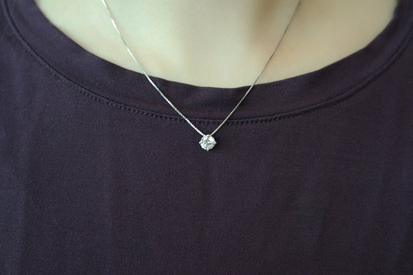 Sterling Silver Four Prong Solitaire Necklace - SDG by Grace