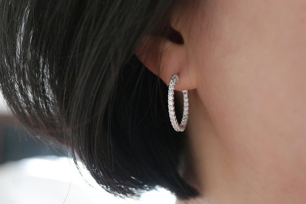 Sterling Silver Slim Crystal Hoop Earrings